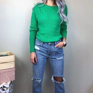 Talbots Crew Neck Green Knit Sweater